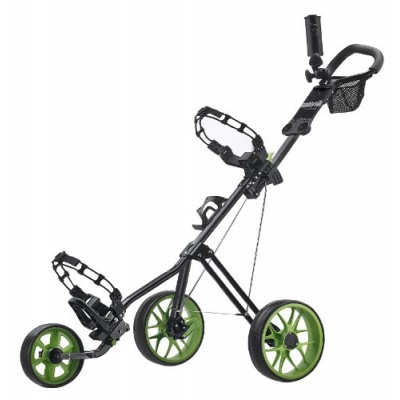 CaddyTek SuperLite Deluxe Golf Push Cart, Black/Green