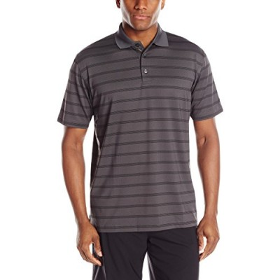 Callaway Men's Golf Performance Stripe Short Sleeve Polo Shirt, Asphalt, Small