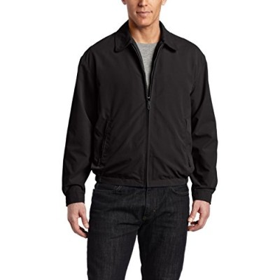 London Fog Men's Zip Front Light Mesh Lined Golf Jacket,  Black,  Small