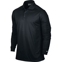 NIKE Men's Victory Long Sleeve Polo, Black/White, X-Large
