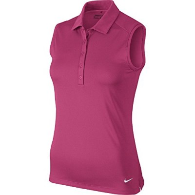 NIKE Women's Dry Sleeveless Victory Polo, Vivid Pink/White, 2X-Large