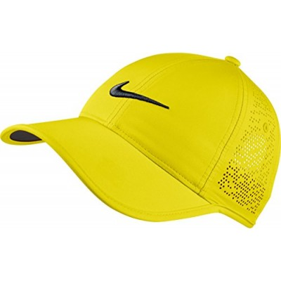 NIKE Women's Perforated Hat, Electrolime/Black, One Size