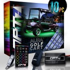 10pc Aura Golf Cart Underbody Glow LED Lighting Kit | Multi-Color Accent Neon Strips w/Switch