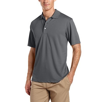 PGA TOUR Men's Short Sleeve Airflux Solid Polo, Asphalt, Small