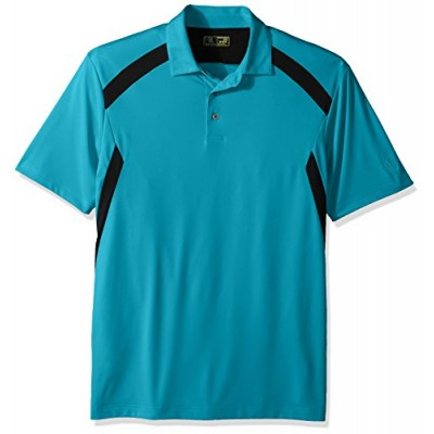 PGA TOUR Men's Short Sleeve Motionflux 360 Color Block Polo, Blue Atoll with Dark Grey, S