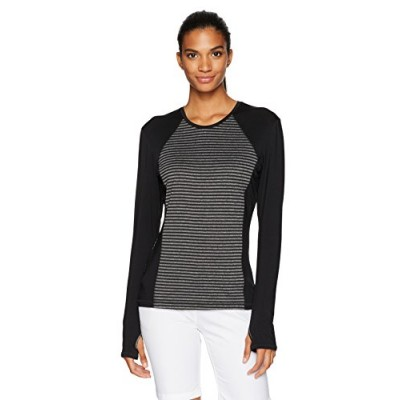 PGA TOUR Women's Airflux Long Sleeve Tops, Stripe Top Caviar, XS