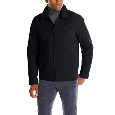 Tommy Hilfiger Men's Micro-Twill Open Bottom Zip Front Jacket, Black, Small
