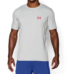 Under Armour Men's Charged Cotton Sportstyle T-Shirt, True Gray Heather/Red, XXX-Large